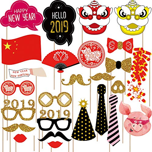 Supla 26 Pack Chinese New Year Photo Booth Props Kit 2019 Year of the Pig Photobooth Props Fun Asian Photo Props for Lunar New Year Spring Festival Birthday Wedding Chinese -