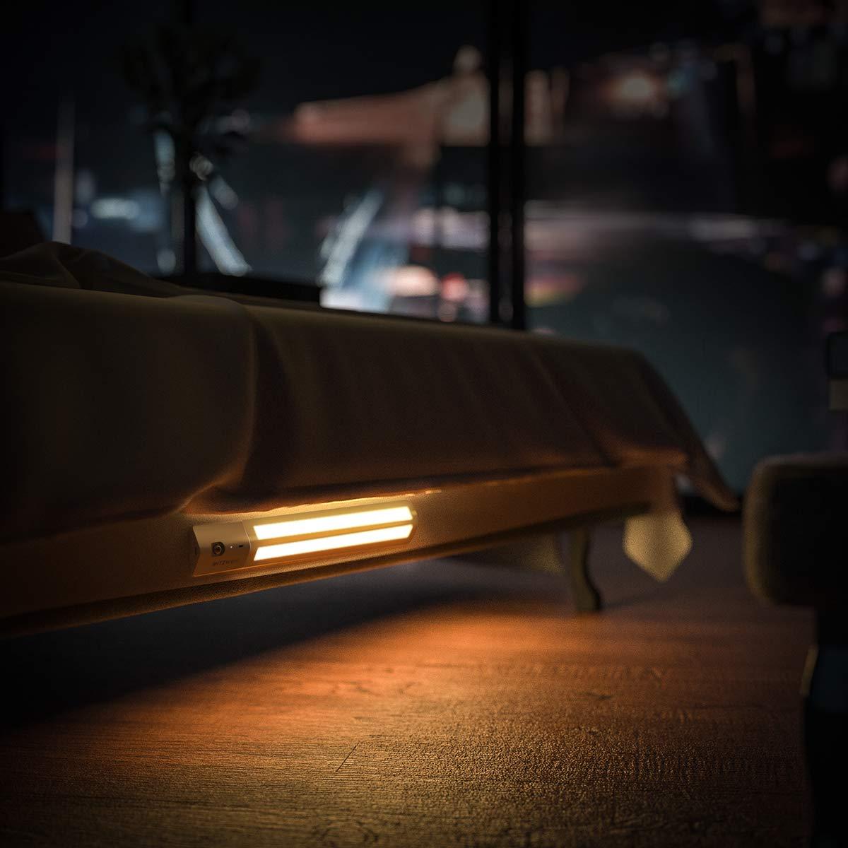 Treppe LED Schrankbeleuchtung Garderobe Badezimmer 3000K warmes Wei/ß BlitzWolf upgraded PIR-Bewegungssensor Licht Schranklicht mit abnehmbare Batterie und Klebeb/ändern f/ür Schrank