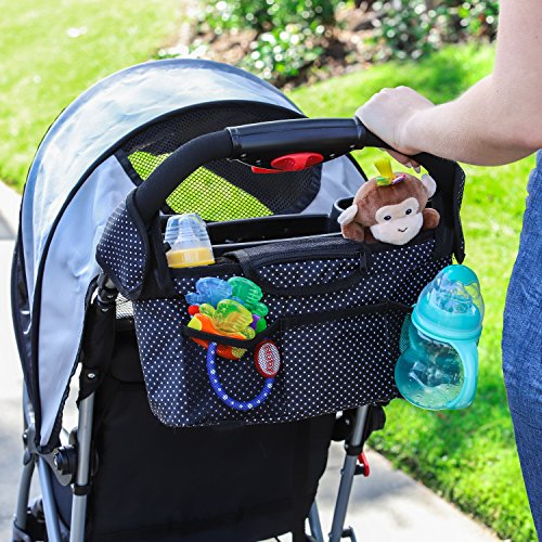 Monster Tots Baby Stroller Diaper Organizer Bag - Waterproof 420D Polyester - Light Weight Design - 2 Insulated Bottle Holder Pockets - Cell Phone Pocket by MONSTER TOTS (Image #3)