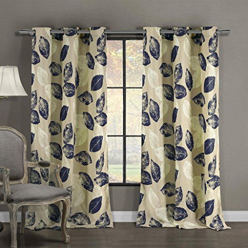 Silk Textured Wallpaper (Linen Blend Textured Floral Leaves Grommet Top Window Curtain Pair Panel Insulated Drapes For Bedroom, Livingroom, Kid, Children, Nursery - Assorted Color - 38 by 84 Inch, Set of 2 Panels - Navy)