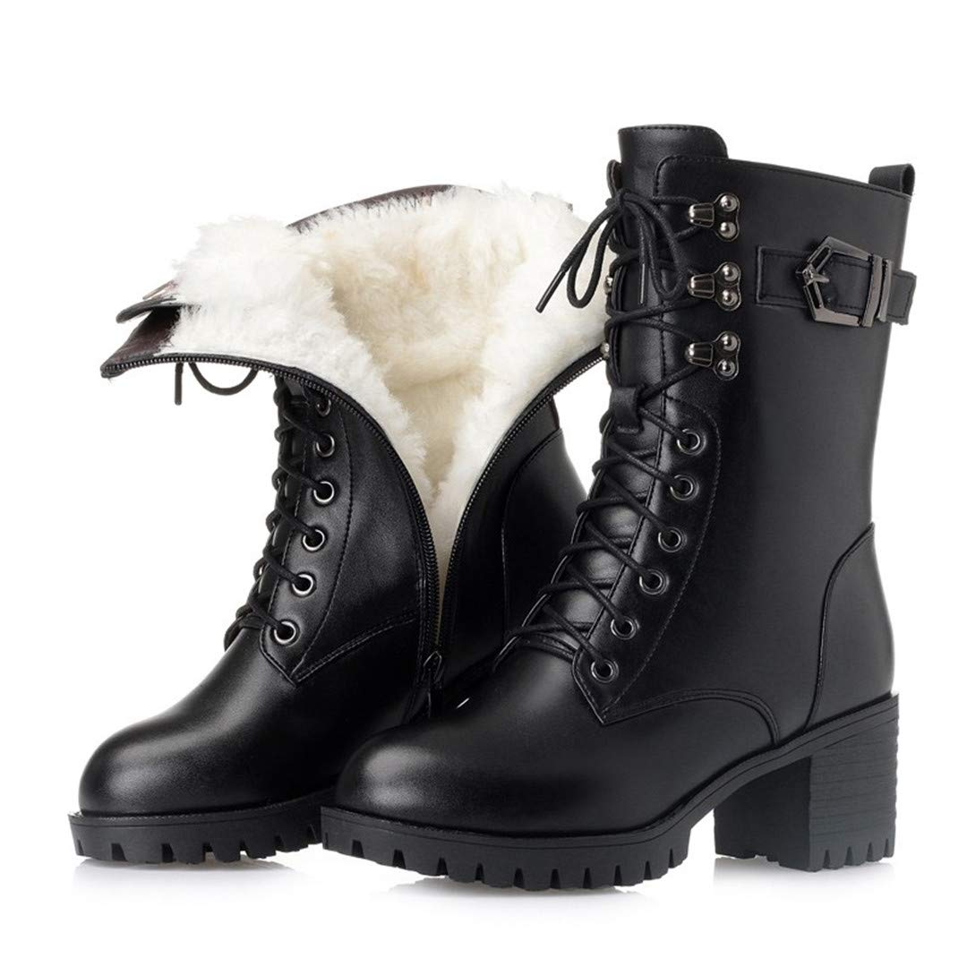 Black wool Genuine Leather Women Military Boots Women Martin Boots -Heeled Thick Wool Boots