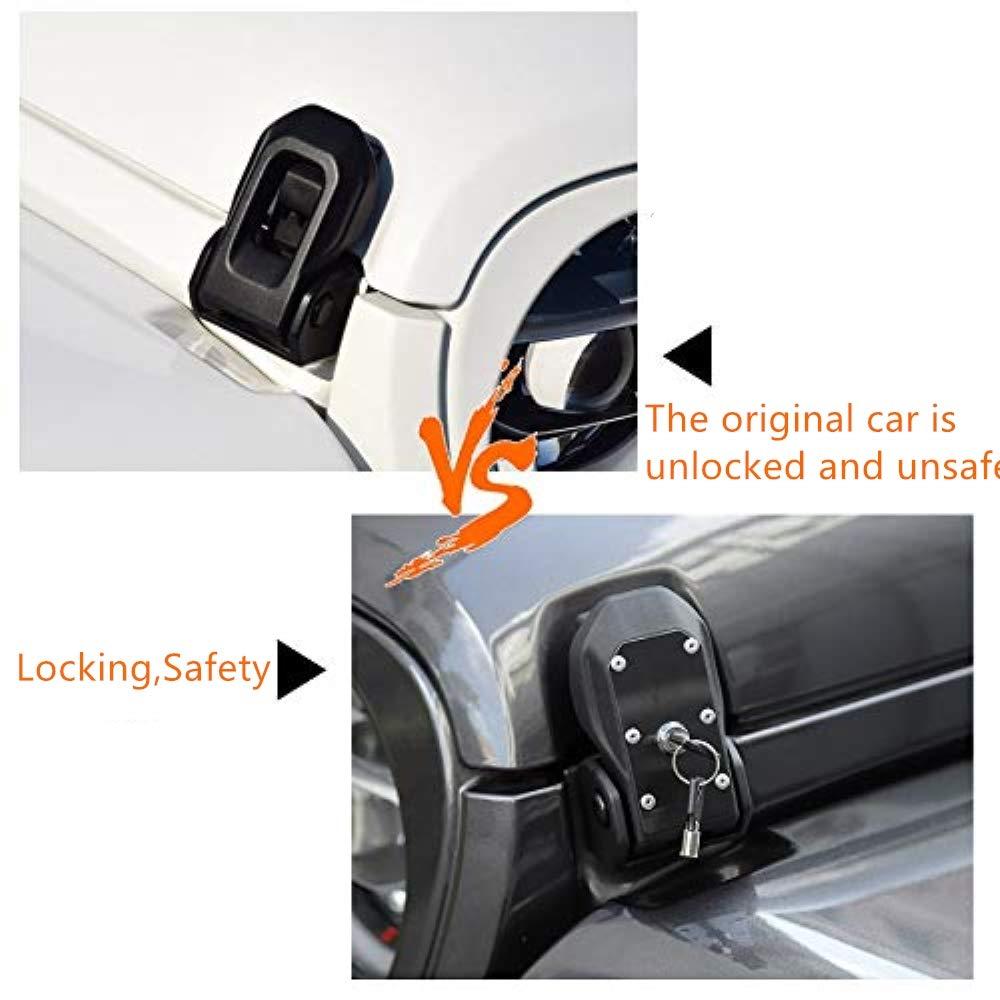 Sahara Original Hood Latches Hood Lock Catch Latches Kit Anti-Theft for Jeep Wrangler JL Sports Black Freedom /& Rubicon 2007-2019