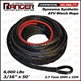 "Ranger 6,000 LBs 3/16"" x 50' UHMWPE Synthetic Winch Rope 5 MM x 15 M for ATV Winch"