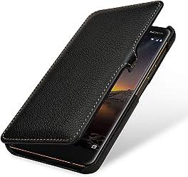 StilGut Book Type, Housse en Cuir pour Nokia 6.1. Etui de Protection en Cuir véritable pour Nokia 6.1 à Ouverture latérale, Noir avec Clip