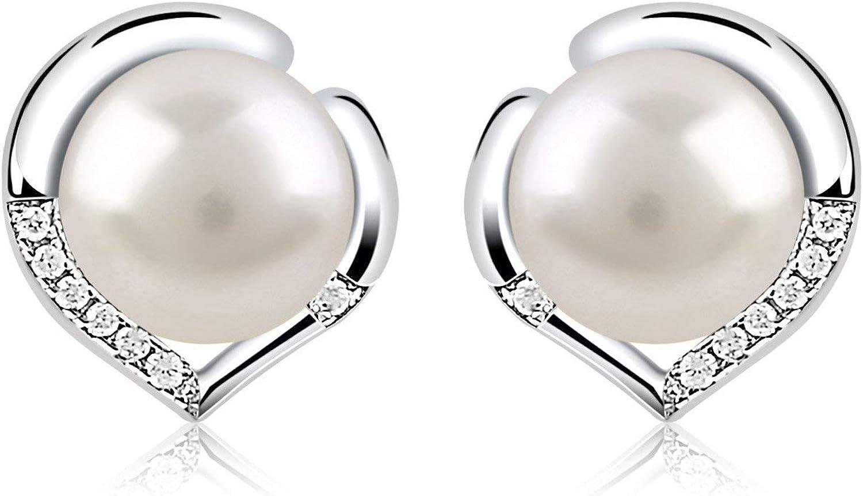 ROOCHL Pendientes Perlas Mujer Plata de Ley 925 ''El Lenguaje del corazón'' con Para Regalo Originales