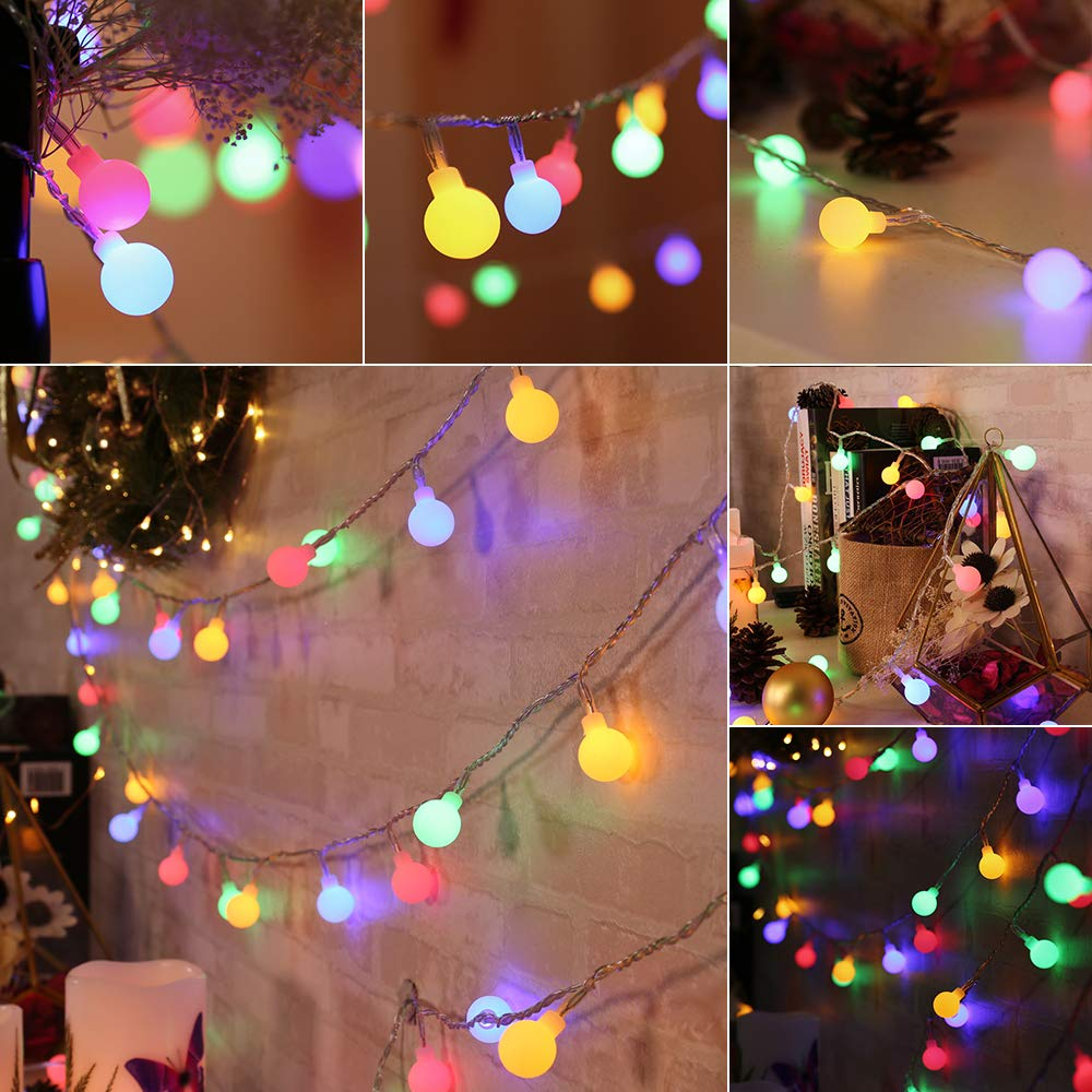 BrizLabs 2 Pack Multicolor Christmas Lights, 50 LED 17.07ft Globe String Lights Battery Powered, Waterproof 8 Modes Ball Lights for Indoor/Outdoor, Wedding Party, Dorm Room, Bedroom, Xmas Decor