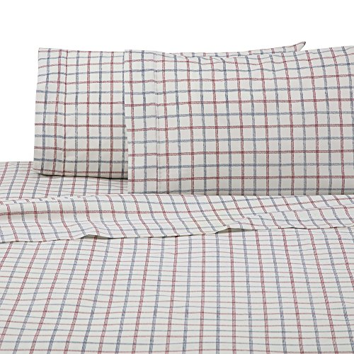 IZOD Grid Sheet Set, Full, Red/Blue