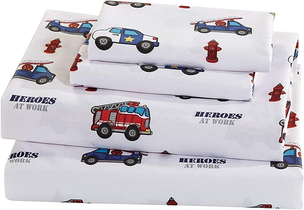 Elegant Home Multicolors Heroes First Responders Police Cars & Fire Trucks Design Fun 3 Piece Printed Sheet Set with Pillowcase Flat Fitted Sheet for Boys/Kids/Teens (Heros, Twin Size)