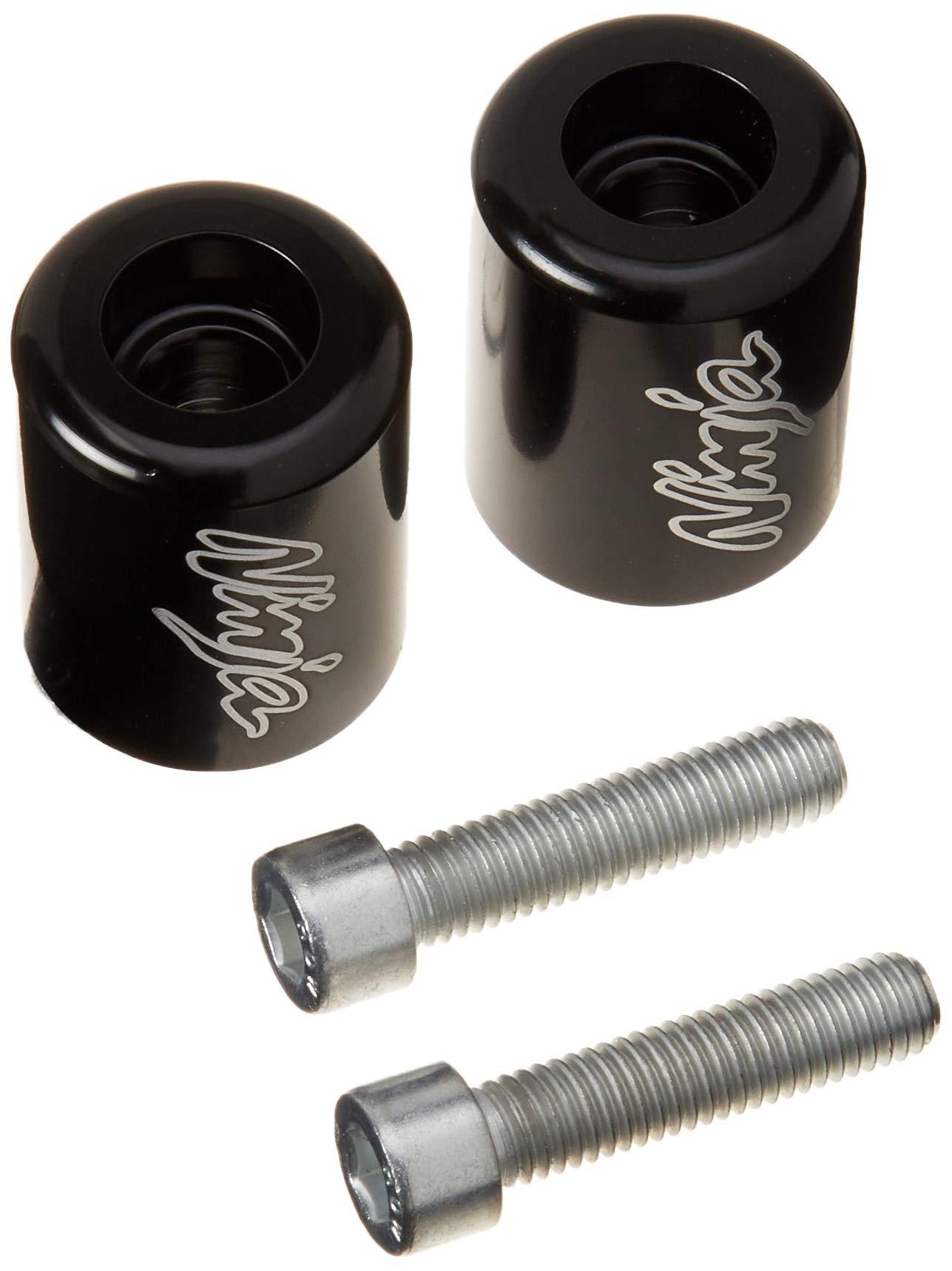 "Krator Black""Ninja"" Engraved Bar Ends Weights Sliders - for Kawasaki ZX6R, ZX7R, ZX9R, ZX10R, ZX12R and More! (1987-2012)"
