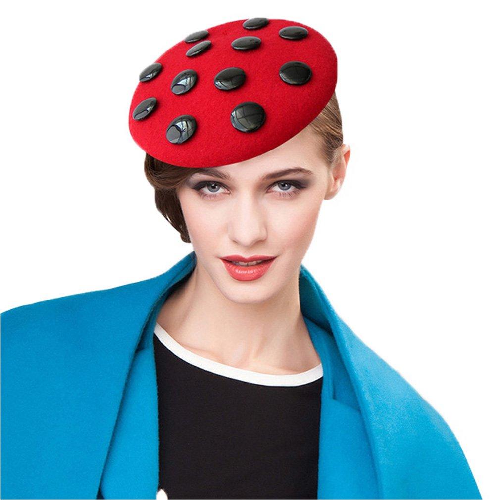 Krastal Womens Fascinator Wool Felt Pillbox Hats England Vintage Red White Black