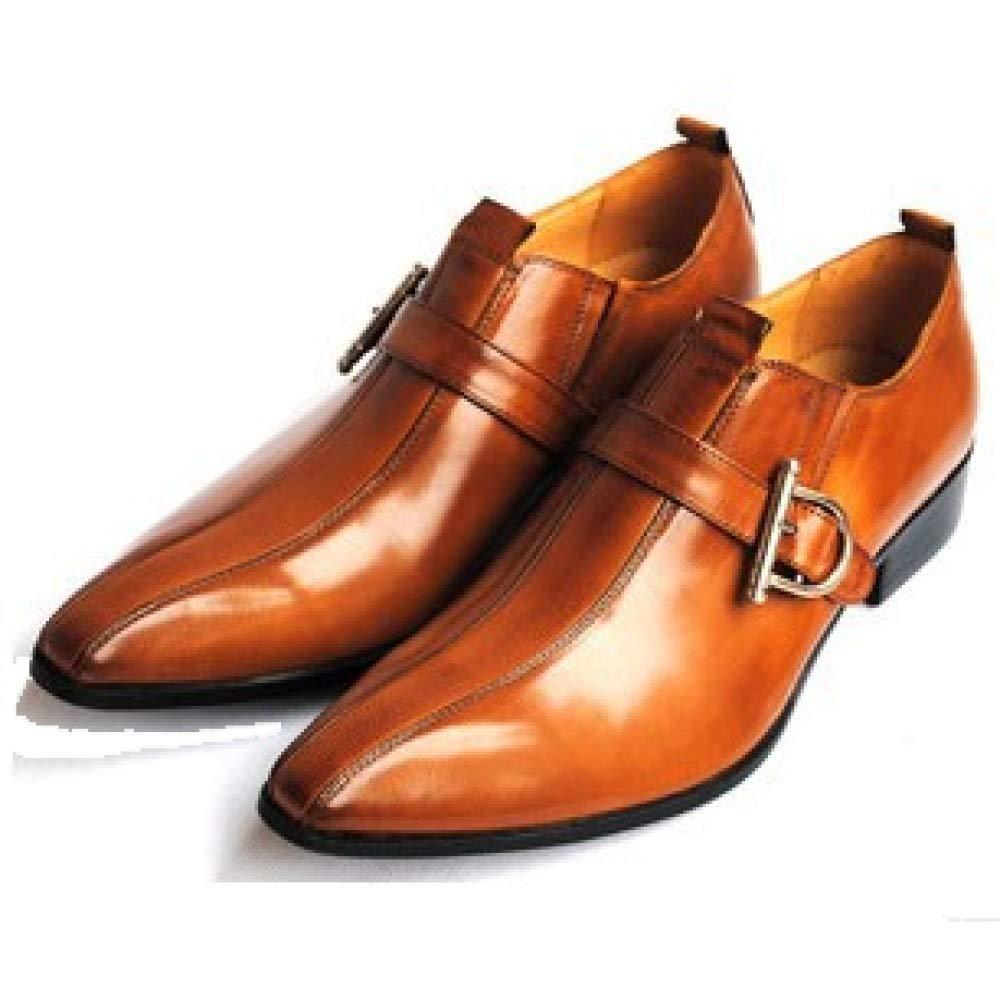Männer Pointed Schnallen Lederschuhe Britischen Retro Business Pointed Männer Schuhe Leder Herrenschuhe Braun 3445a3