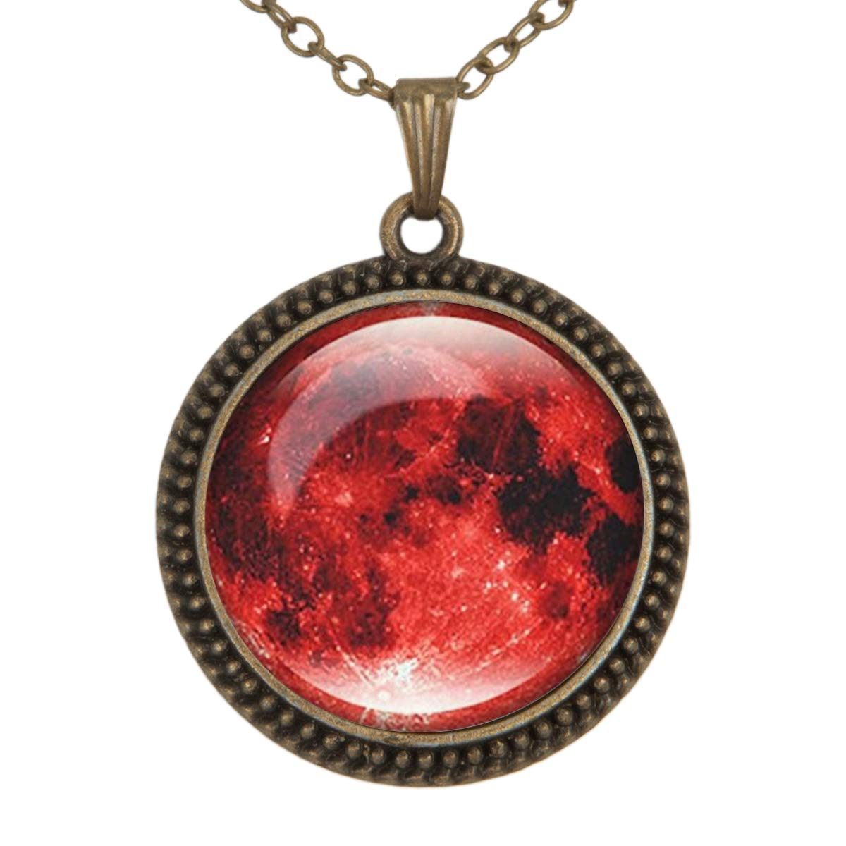 Lightrain Red Moon Art Pendant Necklace Vintage Bronze Chain Statement Necklace Handmade Jewelry Gifts