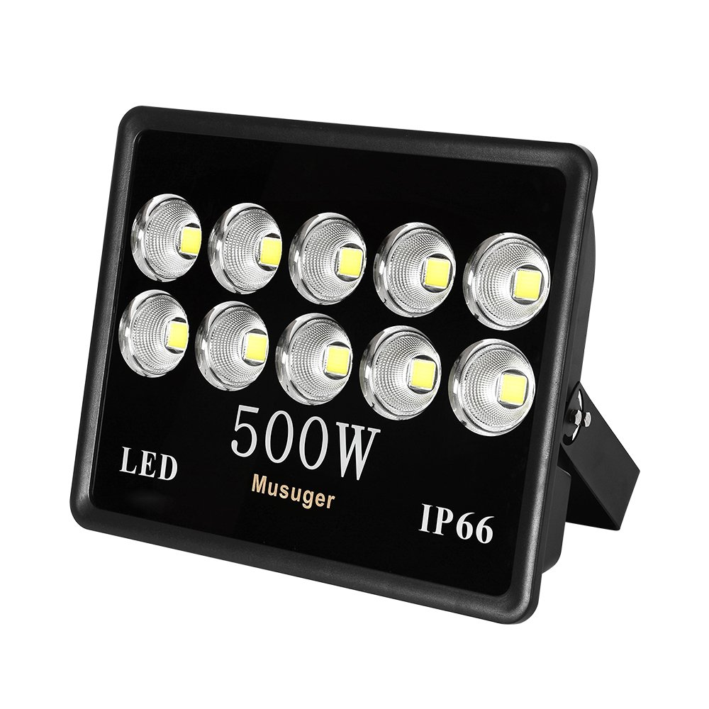 Musuger 500W Super Bright Outdoor LED Flood Lights with Fixture, Waterproof IP66, 50000lm, Daylight White 6000K, Spotlight Cup, Security Light