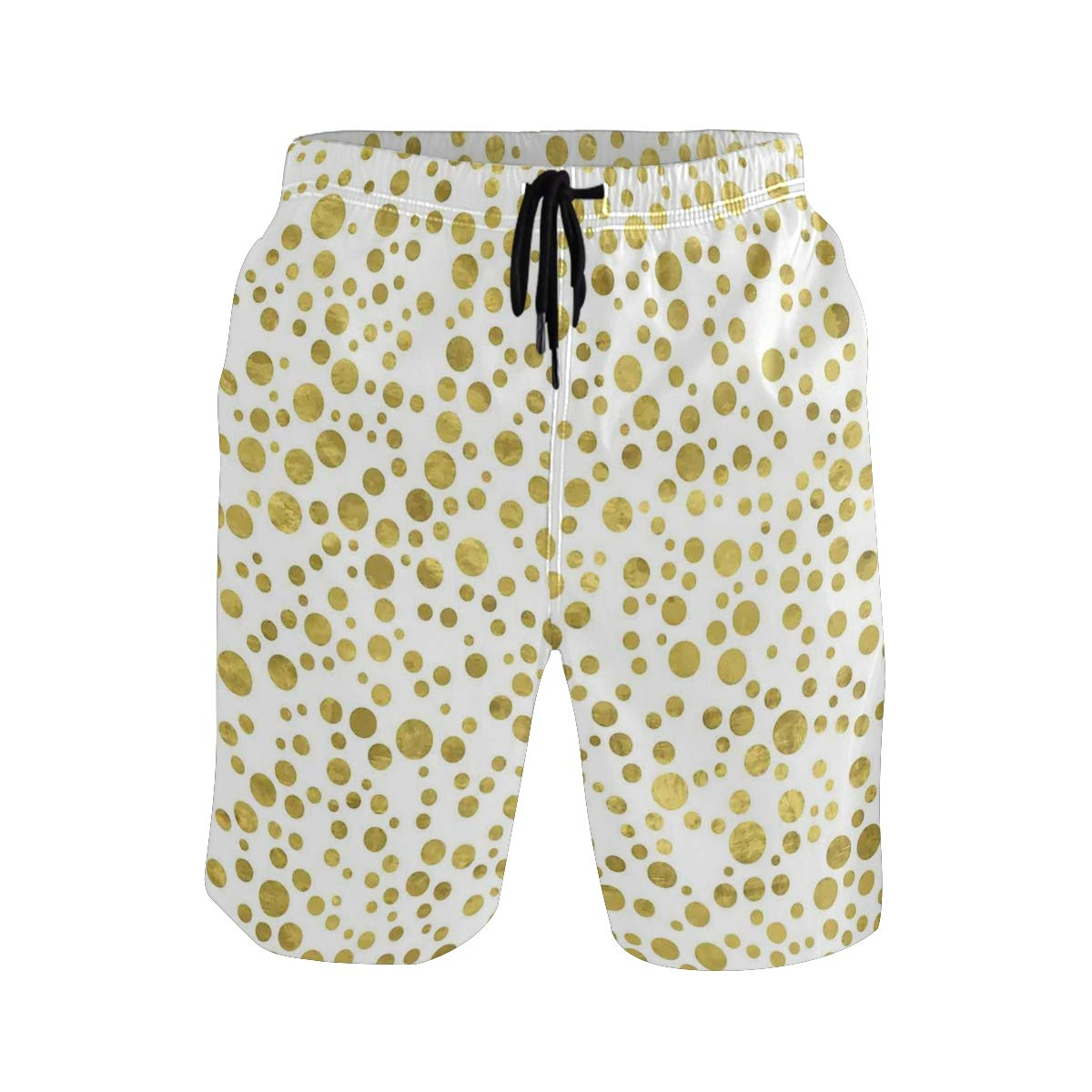 COVASA Mens Summer ShortsIllustration of Golden Polka Dots Vintage Style Art D