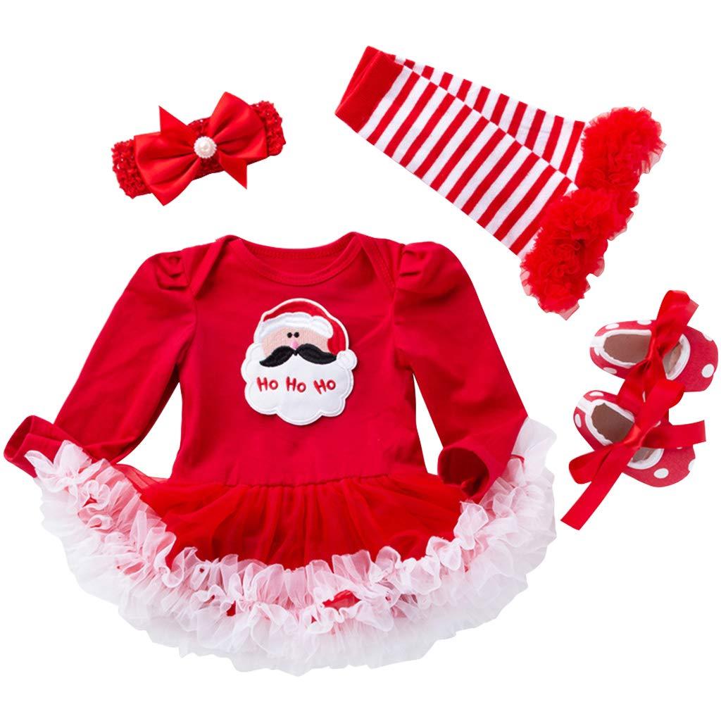 3eba8e901c8 Vestido Navidad Bebe Niña - Recién Nacido Princesa Ropa Romper Infantil Tul  Vestido Carnaval Conjunto Traje de Santa del Partido De Manga Larga Liny  Trading ...