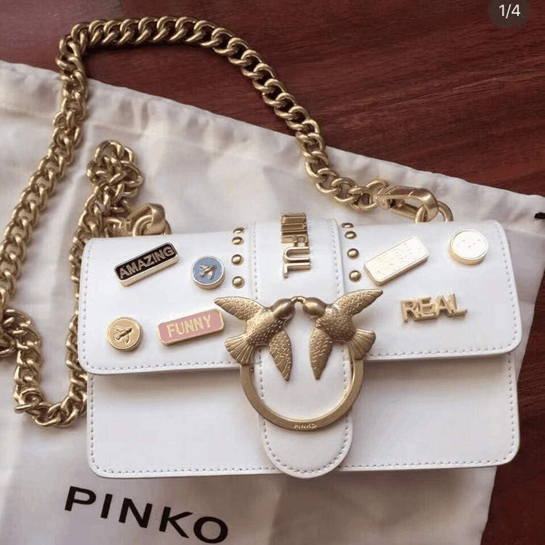 Pinko Love Bag, Ciondolo medaglia, bello e resistente, si sente liscio, fatto a mano in pelle, cucito finemente, elegante ed energico, di alta qualità Bianco