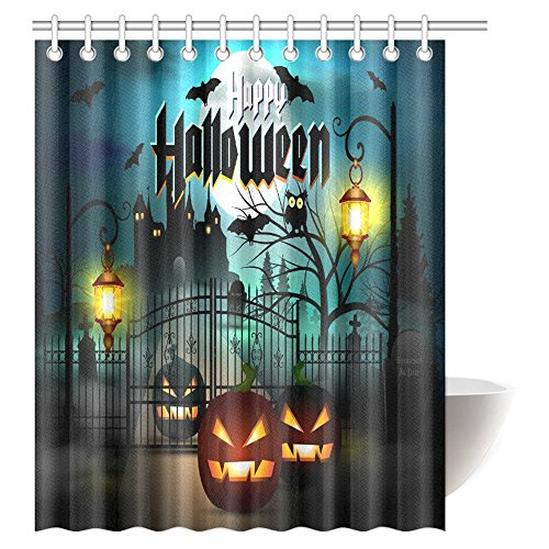 Halloween Full Moon (InterestPrint Vintage Halloween Shower Curtain, Halloween Themed Asymmetric Caste with Scary Bats and Ghosts Full Moon Fabric Bathroom Decor Set with Hooks, 60 X 72 Inches)