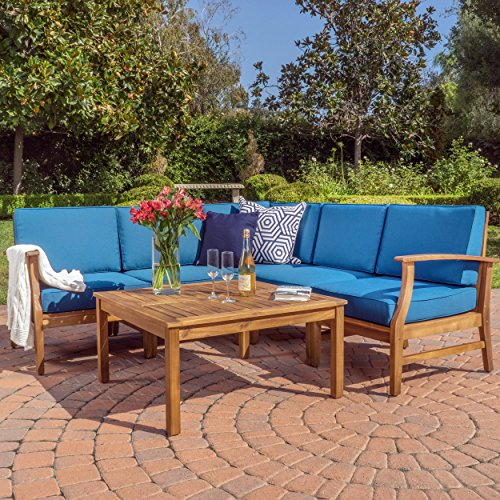 Christopher Knight Home 299097 Capri Outdoor Patio Furniture Wood 6 Piece Chat Set with Water Resistant Cus, Blue