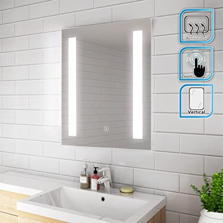 Elegant 500 X 700mm Illuminated Led Bathroom Mirror Wall Mirror Bathroom Mirrors With Light Sensor Touch Control And Demister Pad Amazon Co Uk Kitchen Home