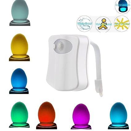 aokur baño Sensor de movimiento lámpara de luz nocturna – Asiento para inodoro con tapa para