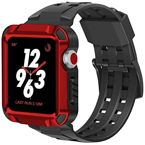 iitee - Carcasa rígida de Aluminio para Apple Watch 3, con Correa Negra para Apple Watch de 42 mm, Serie 3, Serie 2017/2