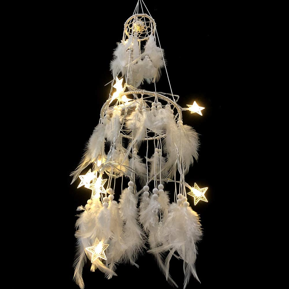 WOW DING Boho Dream Catcher with Mobile LED Fairy Lights,Handmade White Feather Double Circle for Wall Hanging Decor, Bedroom Kids, Home Decoration Wedding Chic Party Nursery Decor Blessing Gift