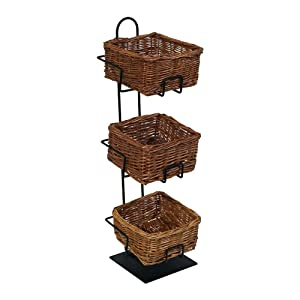 Mobile Merchandisers CR0620-3B-MB 3-Tier 3 Square Willow Basket Counter Display Rack
