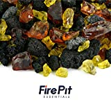 Oahu Sunflower - Fire Glass and Lava Rock Blend for Indoor and Outdoor Fire Pits or Fireplaces | 10 Pounds | 3/8 Inch - 3/4 Inch