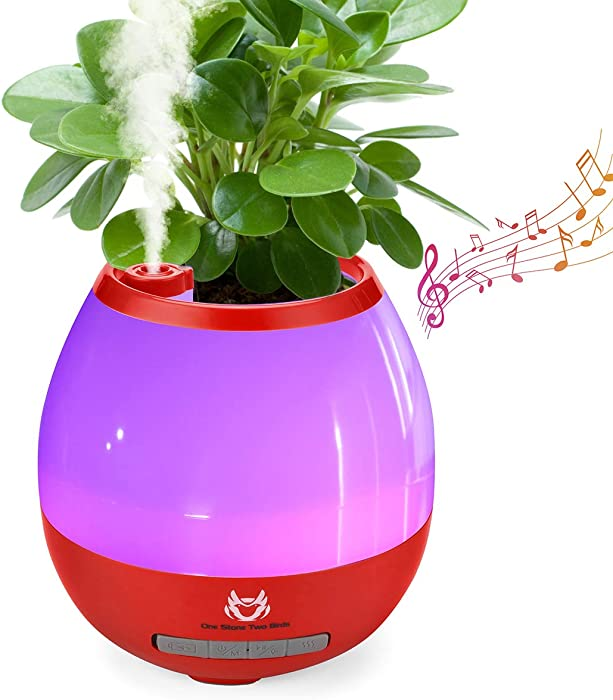 LED Bluetooth Speaker Night Light, 4 in 1 Creative Speaker with Music Plant Pots Humidifier 7 Colors Dimmable Light Function, Suitable for Bedroom Home Office(Red)