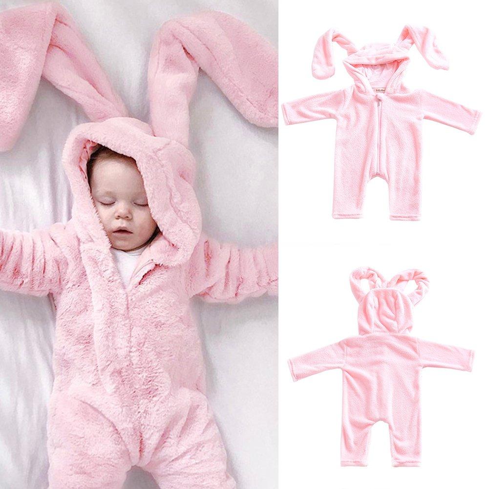 Toddler grande velluto Body a maniche lunghe con cappuccio con orecchie di coniglio bambini neonata pagliaccetto tuta pigiama tuta vestiti tuta as picture show 70 cm SDYDAY