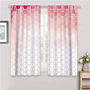 Amazon.com: Light Pink Blackout Window Curtains Hexagon ...