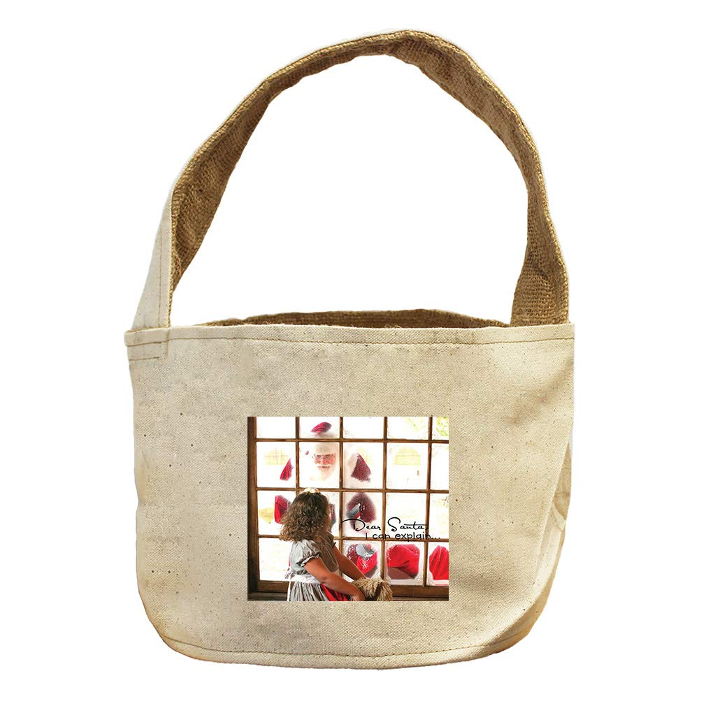 Style in Print Dear Santa, I Can Explain Through The Window Canvas and Burlap Storage Basket