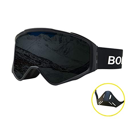 7f66538093f Peacoco Large OTG Ski Snowboard Goggles Snow Goggles Magnet Dual Layers  Lens with Over Glasses Anti