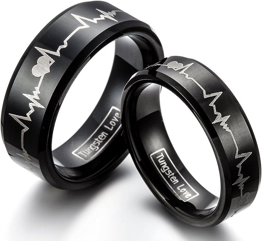 JewelryWe joyería 6 mm colour negro carburo de tungsteno para ...