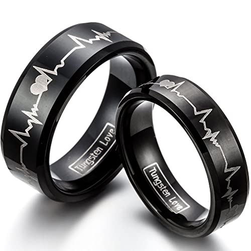 6a7128523b JewerlyWe Free Engraving 2PCS of Matching His 8MM & Hers 6MM Comfort Fit Black  Tungsten Carbide