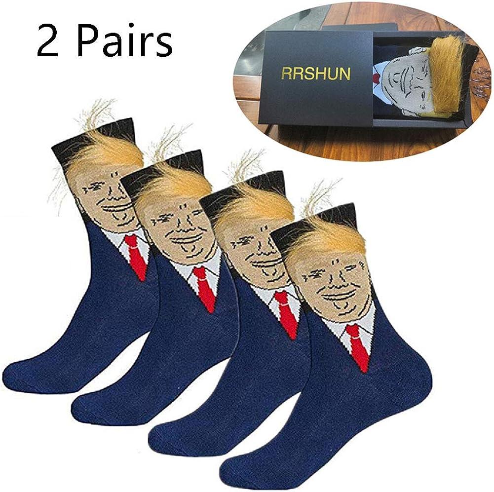 Sunine Chaussettes 3D Trump avec des Cheveux Chaussettes de nouveaut/é de Cheveux r/éalistes Unisexe Bas dr/ôle Creative Bas Bas Cartoon Pr/ésident Donald Trump Chaussettes
