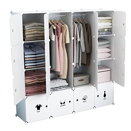 Beau KOUSI Portable Wardrobe Closet For Bedroom Clothes Armoire Dresser Cube  Storage Organizer, 10 Cubesu00262 Hanging