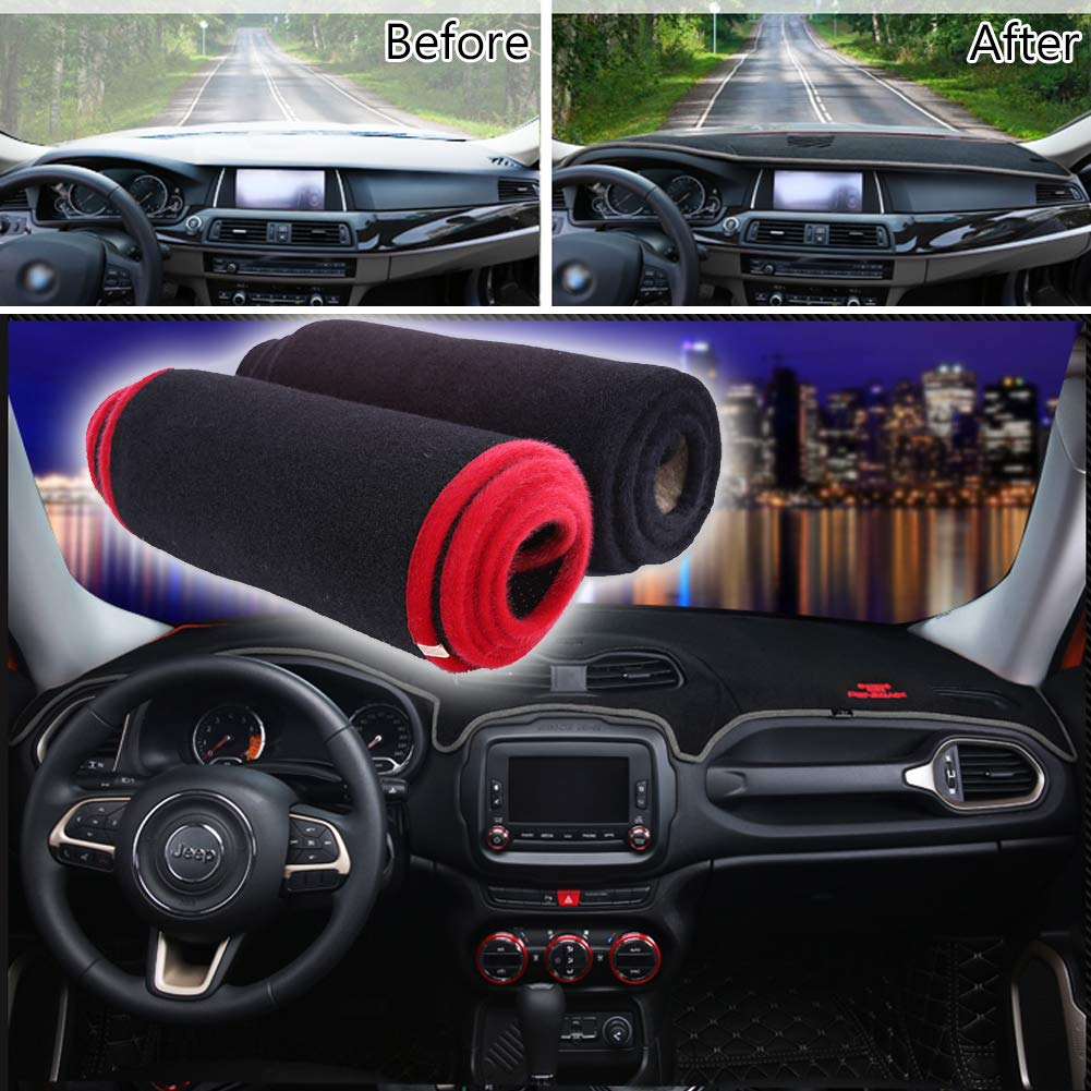 GTINTHEBOX Custom Fit Dashboard Black Center Console Cover Dash Mat Protector Sunshield Cover Pad for Jeep Renegade 2014 2015 2016 2017