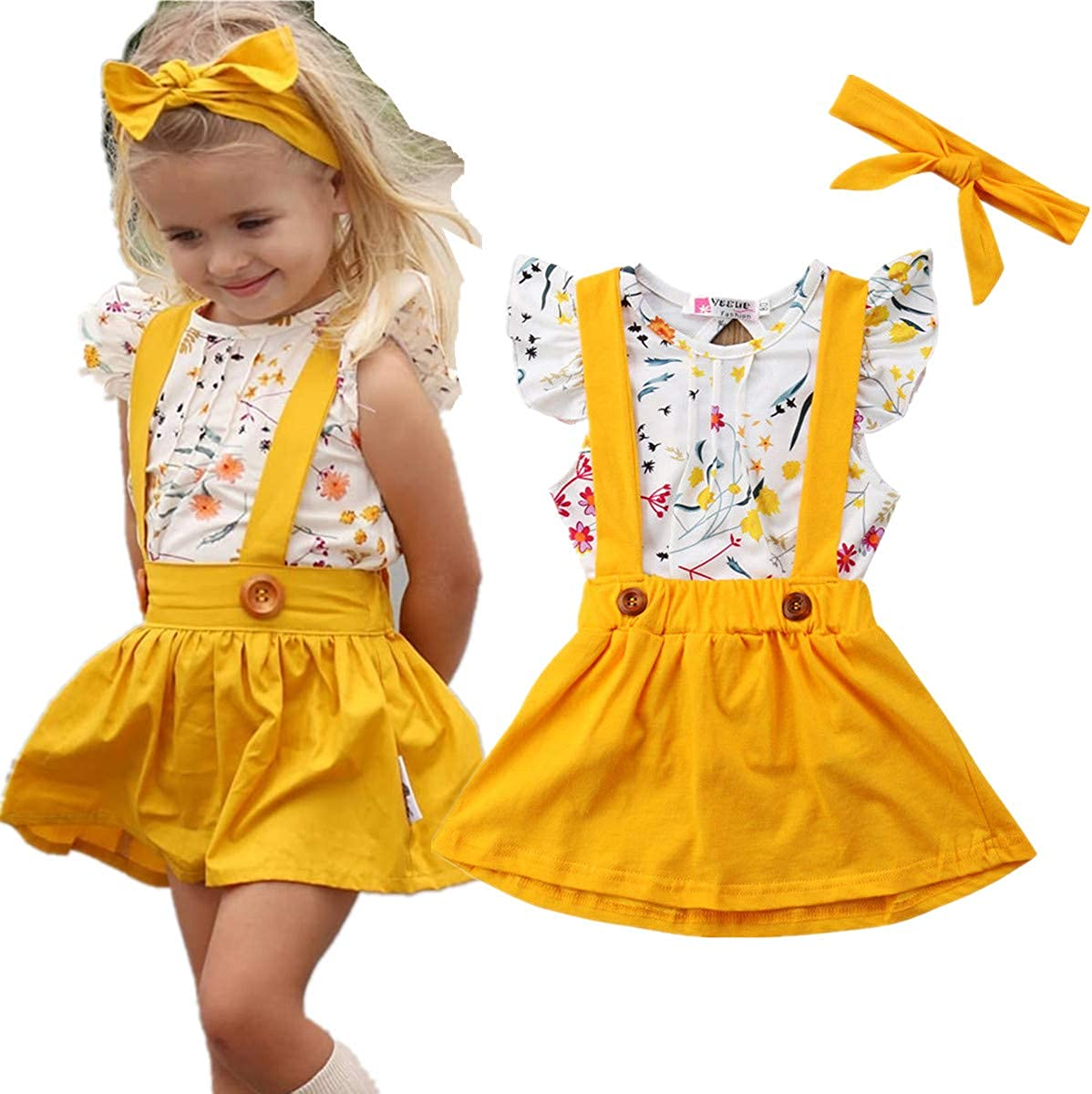 XIAOXUEG Baby Girl Clothes Gifts My First Valentines Day Toddler Girl Outfit Long Sleeve T Shirt Suspender Skirt