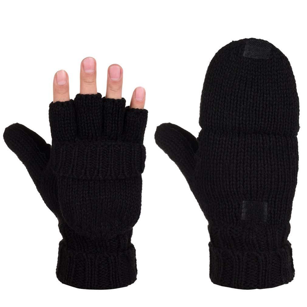 Lerdon Unisex Winter Gloves Warm Wool Flip Top Gloves Flocking Warm Knitted Half-Finger Gloves for Men Women