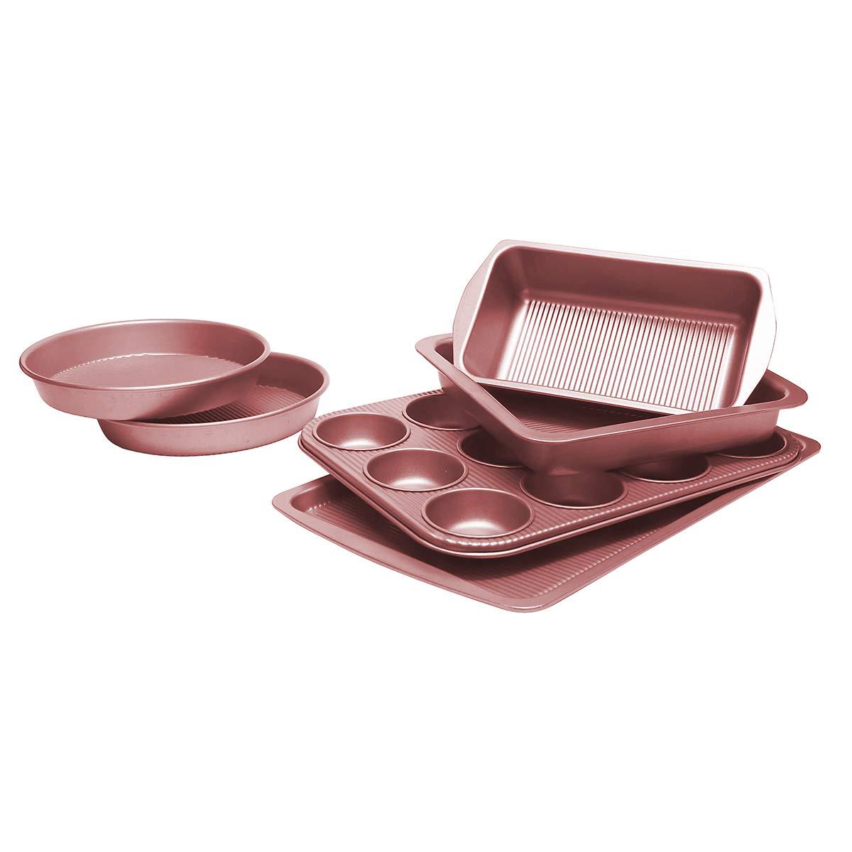Bakeware Set, TOPTIER 6 Piece Nonstick Baking Pan Sets with Cookie Baking Sheets, Muffin Pan, Loaf Pan, Round Cake Pan, Roasting Pan for Baking | Prime Housewarming & Wedding Gift, Rose Gold by toptier (Image #1)