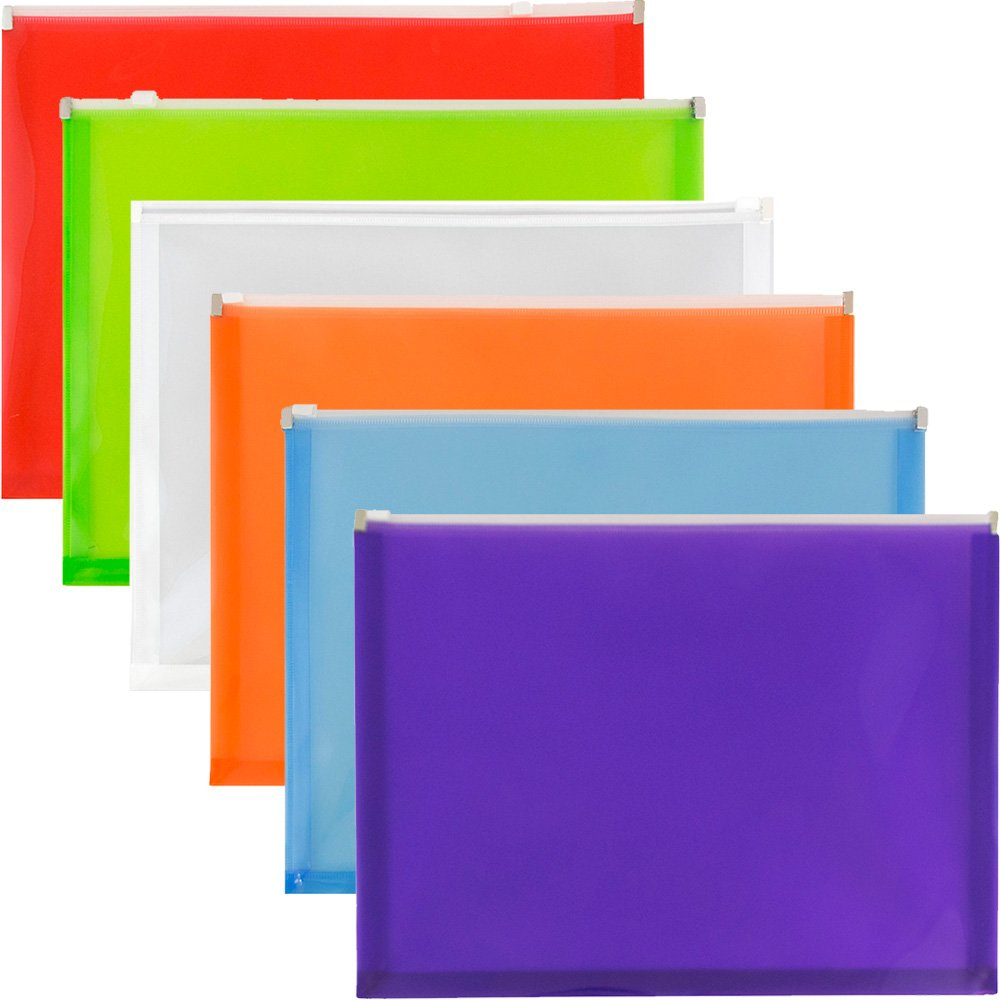 JAM Paper Plastic Envelopes with Zip Closure - Letter (9 3/4'' x 13'') - Assorted Colors - 6/pack