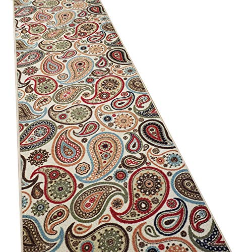 Runner Rug 2x5 Ivory Paisley Kitchen Rugs and mats | Rubber Backed Non Skid Rug Living Room Bathroom Nursery Home Decor Under Door Entryway Floor Non Slip Washable | Made in Europe