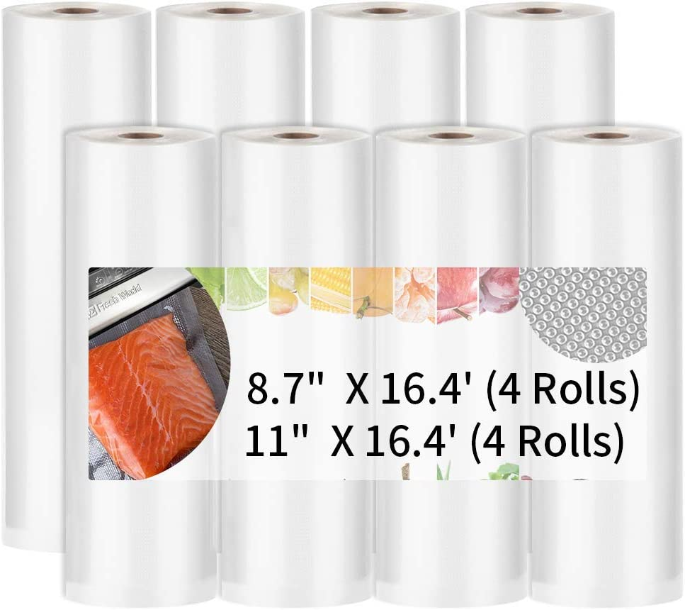 Vacuum Sealer Bags, High Quality Vacuum Sealer Rolls for Food Saver, Seal a Meal, 8.7''x 16.4'(4 Rolls) 11''x 16.4'(4 Rolls) Vacuum Seal Bags for Meal Prep or Sous Vide, BPA Free (16.4' Vaccum Bag)