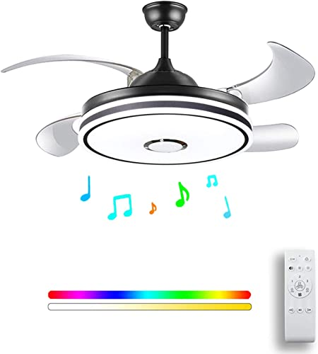 Retractable ceiling fan light and Bluetooth speaker RGB color Changing 36W 49.2In Black ceiling fan