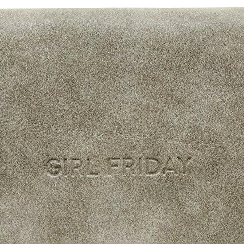 GIRL FRIDAY Clutch INGVILD Damen-Tasche Handtasche Umhängetasche Schultertasche 100% vegan hergestellt, Hellgrau