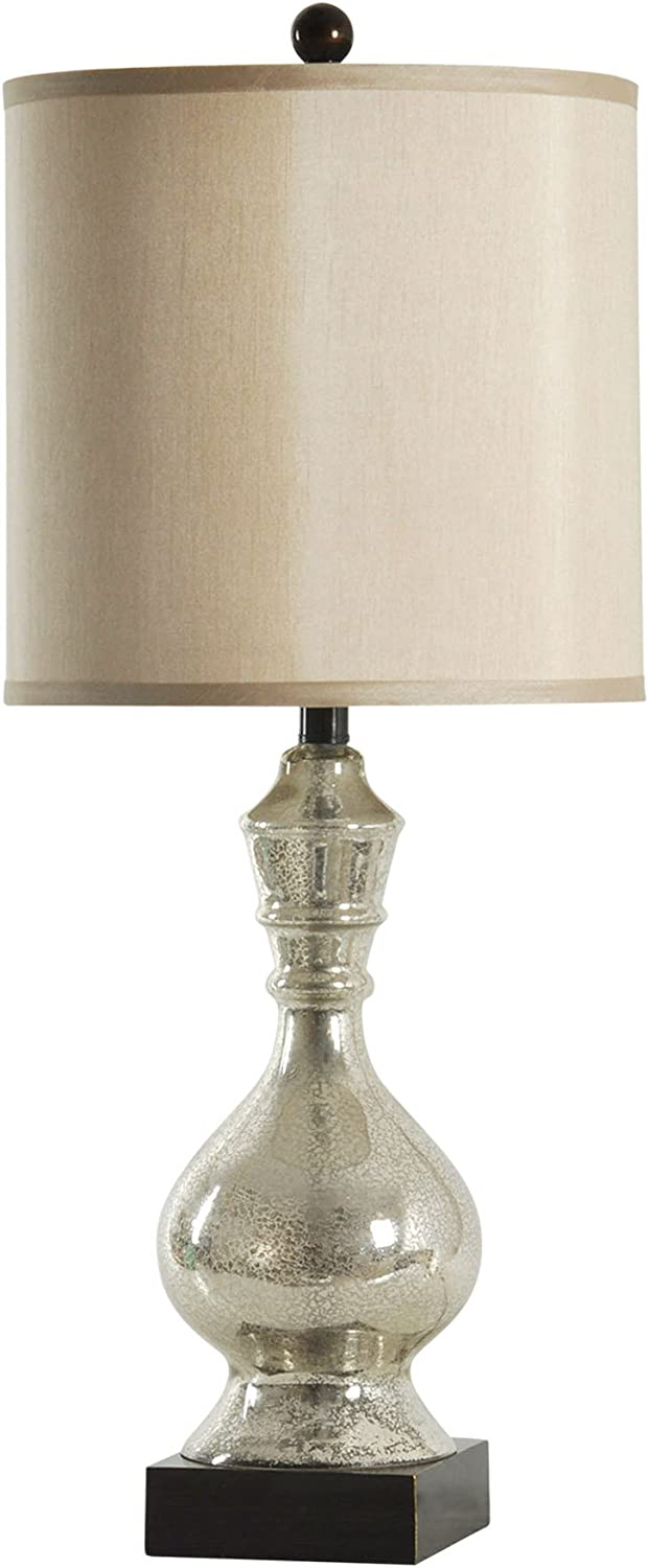 Collective Design 720354121946 Northbay Silver Crackle Mirrored Table Lamp, Mercury & Dark Brown