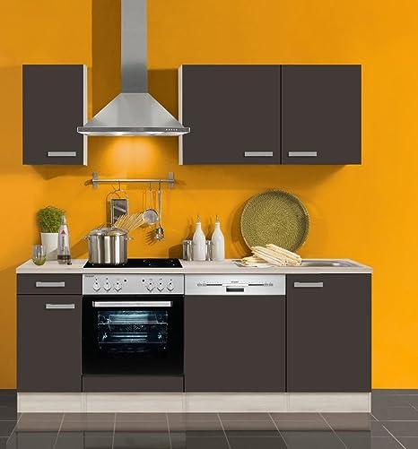 Idealshopping Gmbh Blocco Cucina Con Lavastoviglie E Piano Cottura In Vetroceramica Faro 210 Cm In Antracite Amazon It Casa E Cucina