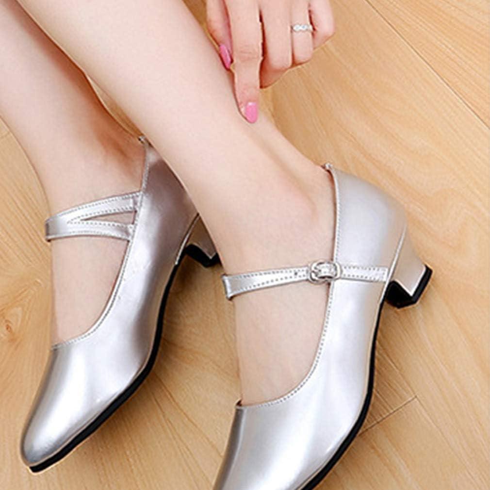 Chaussures de Danse Latine pour Femmes Filles Lani/ère de Cheville Boucle Salle de Bal Chaussures de Danse//Standard Sandales pour Latine Moderne Samba 3.5CM//5.5CM
