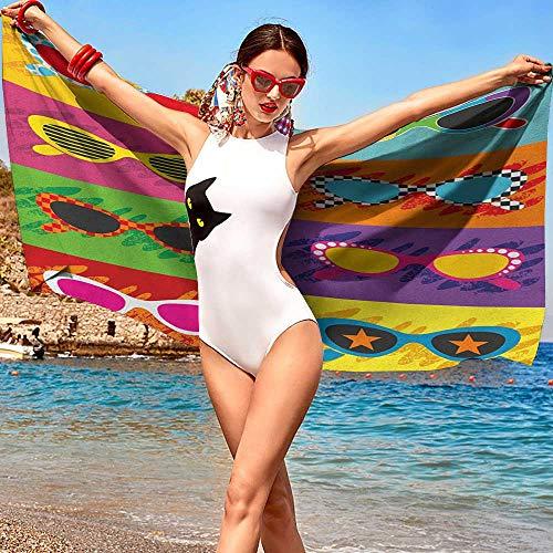 xixiBO Wholesale Towel W20 xL39 70s Party,Pop Art Style Sunglasses Vibrant Colorful Combination Summer Season Fun Artwork Multicolor Hand ()